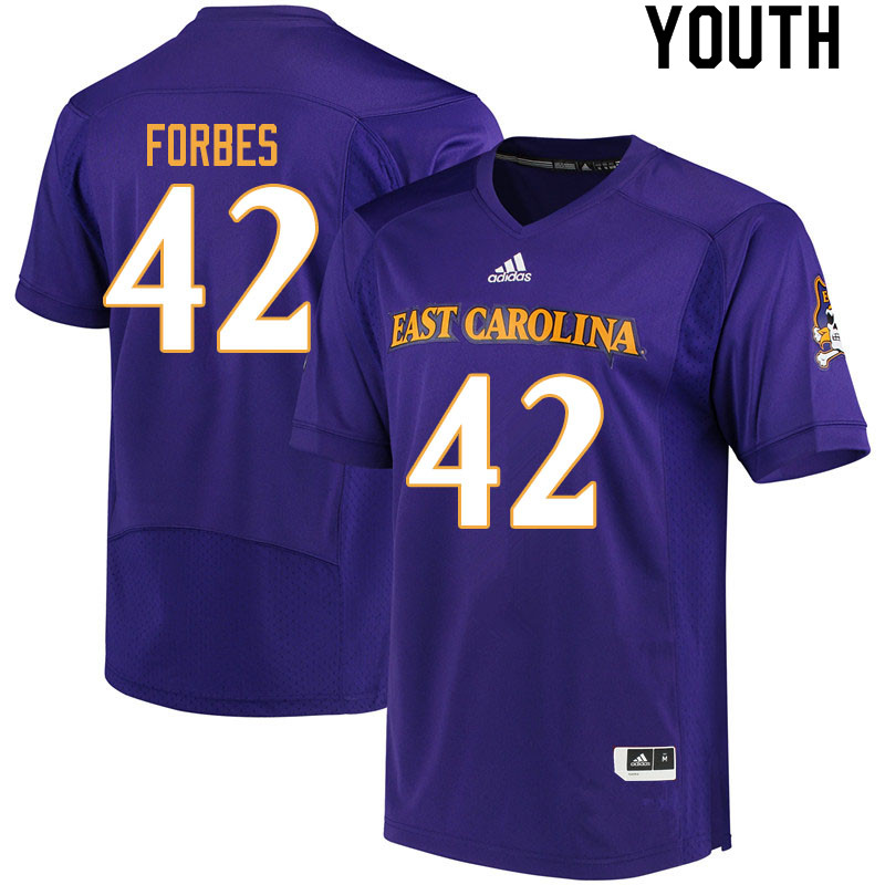 Youth #42 Keaton Forbes ECU Pirates College Football Jerseys Sale-Purple